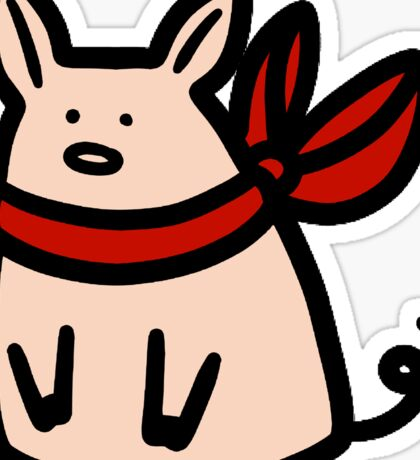 Red Ribbon Piggy Sticker