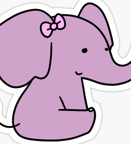 Pink Bow Purple Elephant Sticker