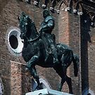 Statue of Horse and a Venetian master by Verocchia plaza of S Giovanni et S Paulo Cathedral Venice Italy 19840731 0076 by Fred Mitchell