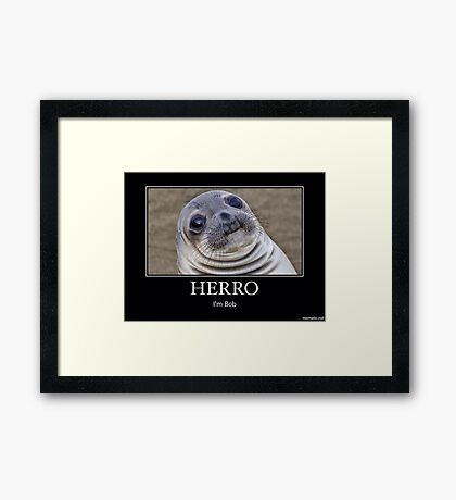 Bob the seal says Herro Framed Print
