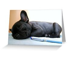 FB puppy with pen Greeting Card