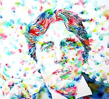 OSCAR WILDE smoking cigar - watercolor portrait by lautir