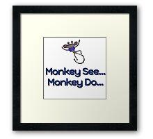 Monkey See... Monkey Do... (Blue) Framed Print