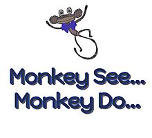 Monkey See... Monkey Do... (Blue) Photographic Print