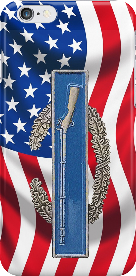 Combat Infantry Badge on American Flag - iPhone Case by Buckwhite