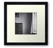 Country house window open summer afternoon Tuscany Italy black and white square silver gelatin film analog photo Framed Print