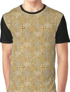 Goldenes Kreuz Muster Graphic T-Shirt