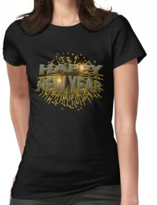 Happy New Year Unique Gold Fireworks New Years Eve T-Shirt Womens Fitted T-Shirt