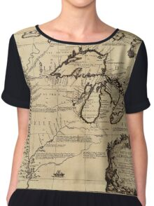 Map Of The Great Lakes 1688 Chiffon Top