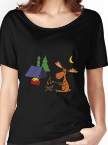 Cool Funny Moose Camping Women's Relaxed Fit T-Shirt