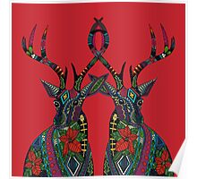 poinsettia deer red Poster