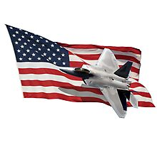 US Flag With Raptor Photographic Print