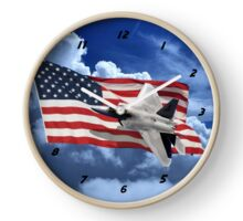 US Flag With Raptor Clock