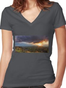 Norland moor sunset Women's Fitted V-Neck T-Shirt