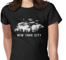 New York City Skyline Cityscape Night  Womens Fitted T-Shirt
