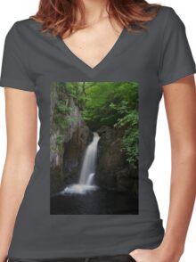 Idyllic Waterfall  Women's Fitted V-Neck T-Shirt