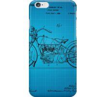 Harley Davidson Motorcycle Patent 1925 - Blue iPhone Case/Skin