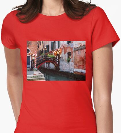 Impressions Of Venice - the Charming Christmassy Bridge Up Close Womens Fitted T-Shirt