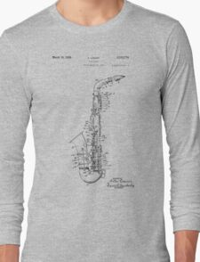 Saxophone Patent Drawing From 1933 Long Sleeve T-Shirt
