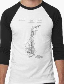 Saxophone Patent Drawing From 1933 Men's Baseball ¾ T-Shirt