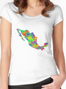 Mexico Watercolor Map Women's Fitted Scoop T-Shirt