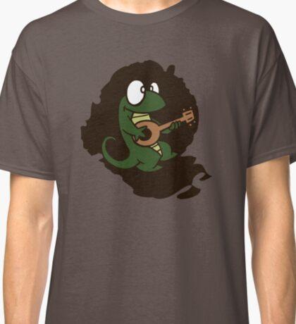 lizard lézard music cartoon fun bass guitar mandolin Classic T-Shirt