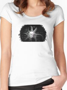 Digital Octopus Skull Women's Fitted Scoop T-Shirt