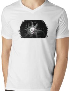 Digital Octopus Skull Mens V-Neck T-Shirt
