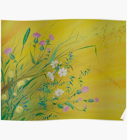 Field Flowers on Yellow Poster