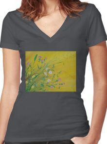 Field Flowers on Yellow Women's Fitted V-Neck T-Shirt