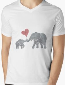 Elephant Hugs Mens V-Neck T-Shirt