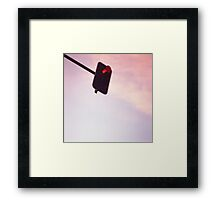 Red traffic stop light signal and sky still life blue square Hasselblad medium format film analog photograph Framed Print