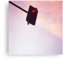 Red traffic stop light signal and sky still life blue square Hasselblad medium format film analog photograph Canvas Print
