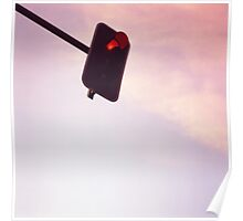 Red traffic stop light signal and sky still life blue square Hasselblad medium format film analog photograph Poster