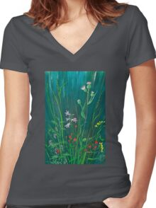 Field Flowers on Blue Women's Fitted V-Neck T-Shirt
