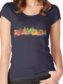 Watercolor art print of the skyline of Las Vegas Nevada City USA Women's Fitted Scoop T-Shirt
