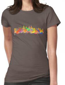 Watercolor art print of the skyline of Las Vegas Nevada City USA Womens Fitted T-Shirt
