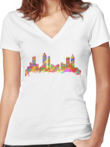 Watercolor art print of the skyline of Atlanta Georgia USA Women's Fitted V-Neck T-Shirt
