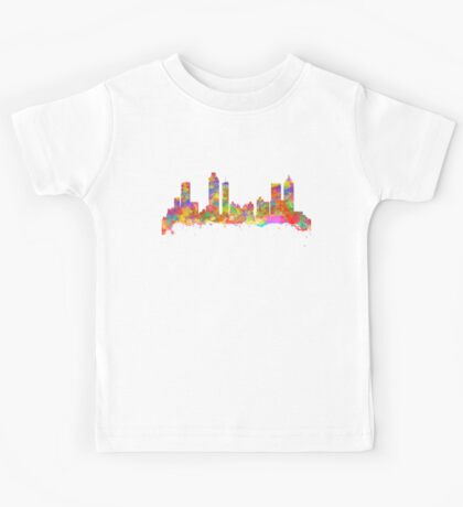 Watercolor art print of the skyline of Atlanta Georgia USA Kids Tee