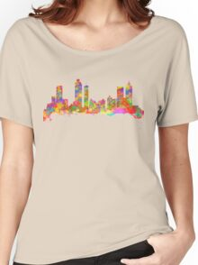 Watercolor art print of the skyline of Atlanta Georgia USA Women's Relaxed Fit T-Shirt