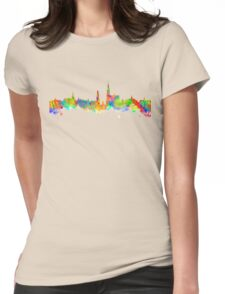 Watercolor art print of the skyline of Antwerp in Belgium Womens Fitted T-Shirt