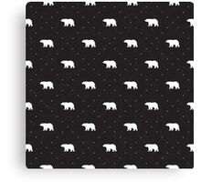 Black shabby pattern with bears Canvas Print