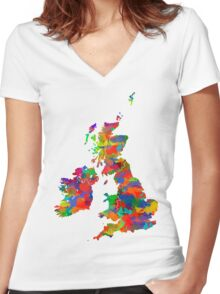Great Britain Watercolor Map Women's Fitted V-Neck T-Shirt