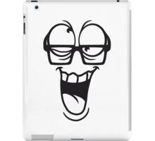 gesicht comic cartoon verrückt crazy wahnsinnig hornbrille lustig lachen verwirrt psycho bescheuert blöd idiot nerd geek schlau  iPad Case/Skin