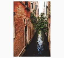 Impressions Of Venice - Small Canal Hugged by a Fig Tree One Piece - Short Sleeve
