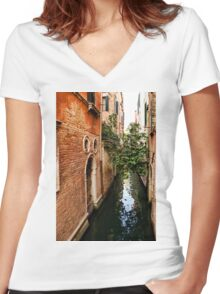 Impressions Of Venice - Small Canal Hugged by a Fig Tree Women's Fitted V-Neck T-Shirt