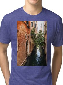 Impressions Of Venice - Small Canal Hugged by a Fig Tree Tri-blend T-Shirt