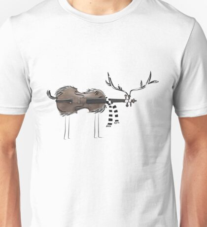 Christmas Violin Reindeer Unisex T-Shirt