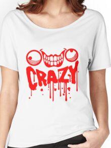 gesicht comic cartoon mörder blut farbe tropfen horror halloween text schrift logo design cool crazy verrückt verwirrt blöd dumm komisch gestört  Women's Relaxed Fit T-Shirt
