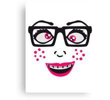 geek nerd hornbrille schlau frau weiblich girl sexy gesicht grinsen comic cartoon text schrift logo design cool crazy verrückt verwirrt blöd dumm komisch gestört  Canvas Print